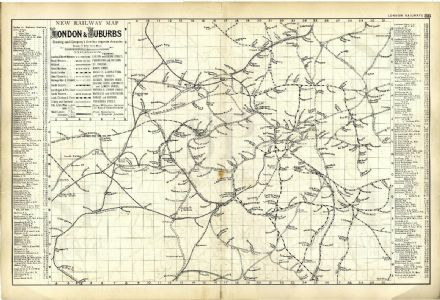 1891 RAILWAY MAP London & Suburbs STATIONS Company Lines VICTORIAN Antique PLAN